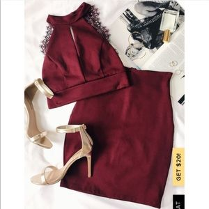 Chic Burgandy Lace Two Piece Homecoming Dress !!